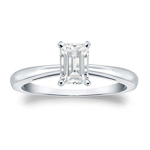 Diamond Wish 18k White Gold Emerald-cut Solitaire Diamond Engagement Ring (1/2 carat TW, White, SI2-I1) 4-Prong Set, Size 8.5 Ct Tw Diamond Emerald Ring