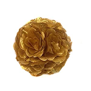 Ben Collection 10 Pack of Fabric Artificial Flowers Silk Rose Pomander Wedding Party Home Decoration Kissing Ball Trendy Color Simulation Flower (Gold, 20cm) 11
