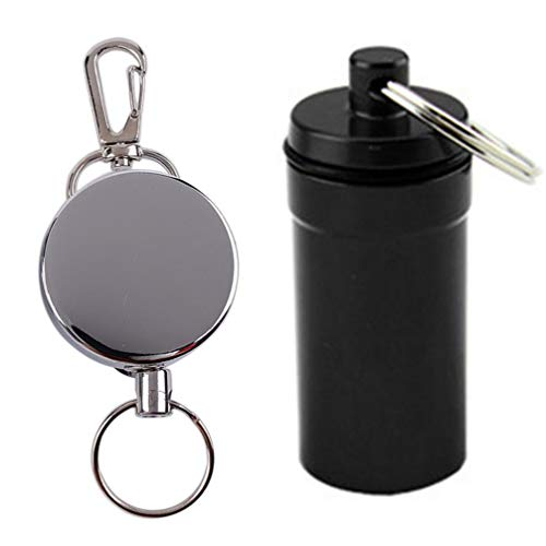 AMdinghaonuo Portable Waterproof Medicine Pill Box And Anti-Lost Key Ring Set 2Color