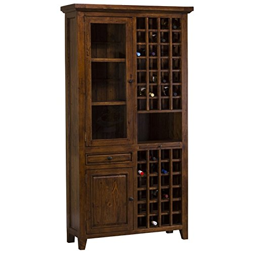 Hillsdale Furniture 5225-949W Tuscan Retreat 83'' Tall Wine Storage with 52 Bottle Storage 2 Doors 1 Pull Out Tray and Reclaimed Timber Construction in Oxford Antique Pine