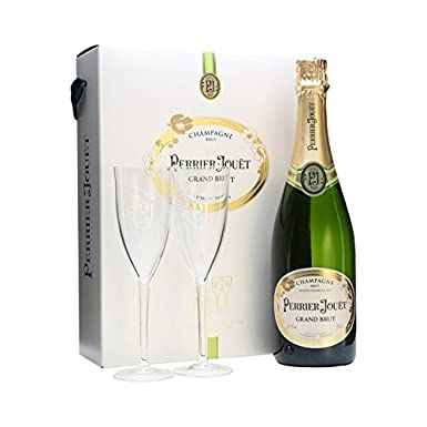 Perrier Jouët Grand Brut Non Vintage Champagne with 2 Flutes in Gift Box, 75 cl