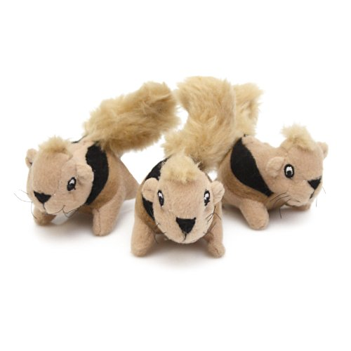 Outward Hound Kyjen  2858 Squeakin' Animals 3-Pack Jr. Hide-A-Squirrel Replacement Squeak Toy Dog Toys, Small, Brown