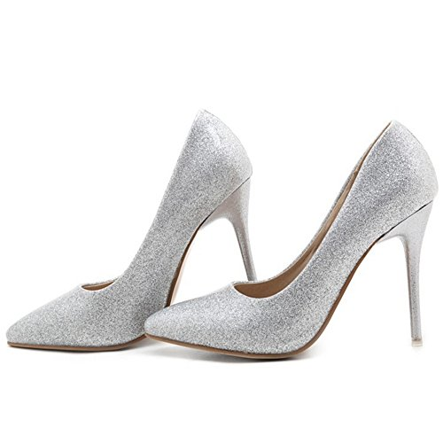 SJJH Stiletto Court Shoes with Bling Materail for Wedding Party Shiny Dressy Court Shoes with Large Size Silver JreQJm