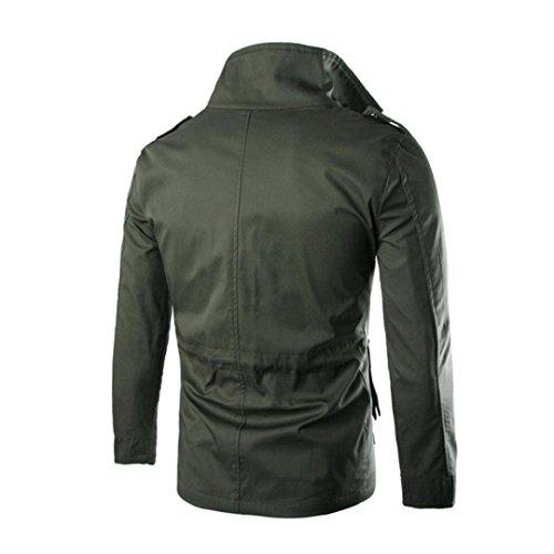 Koly Outwear Casuale Verde Cappotto moda Sottile Soprabito Uomo Rivestimento vSZvH7p6