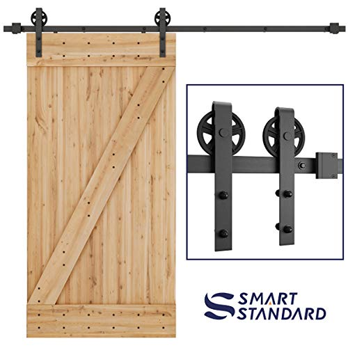 "SMARTSTANDARD 8FT Heavy Duty Sliding Barn Door Hardware Kit, Single Rail, Black, Smoothly and Quietly, Simple and Easy to Install, Fit 48"" Wide DoorPanel (Big Industrial Wheel Hanger)"