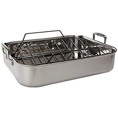 Le Creuset Tri-Ply 17 by 13.75-Inch Stainless Steel Roasting Pan Set, Large