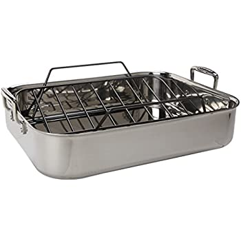Le Creuset Tri Ply 17 By 13 75 Inch Stainless Steel Roasting Pan Set