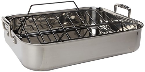 Le Creuset Tri-Ply 17 by 13.75-Inch Stainless Steel Roasting Pan Set, Large by Le Creuset