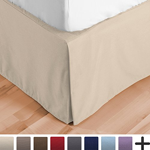 Bare Home Bed Skirt Double Brushed Premium Microfiber, 15-Inch Tailored Drop Pleated Dust Ruffle, 1800 Ultra-Soft, Shrink and Fade Resistant (Full XL, (Sand Microfiber Sofa)