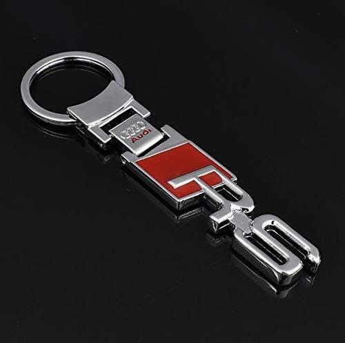 LBPLWY Auto schlüsselbund Schlüsselanhänger,Fashoinal Einfache Männer Metall + Leder Auto Keychain Schlüsselring Schlüsselkette Autoinnenraum Für Audi S3 S4 S5 S6 Rs R5 R GT