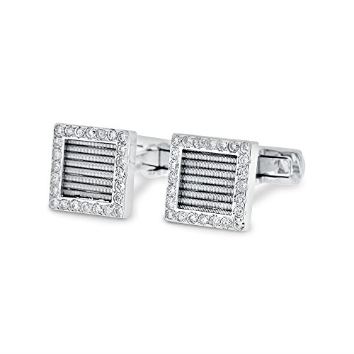 1.25 Natural Diamond Square Men's Shirt Cufflinks in Solid 14k White Gold