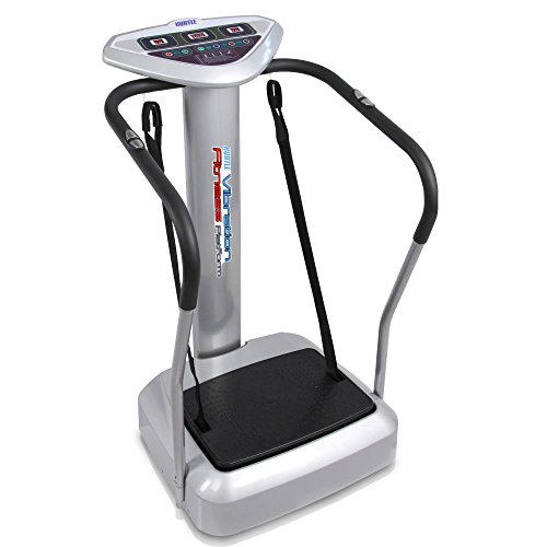 Hurtle Vibration Platform Upgraded Full Body Fitness Machine Exercise - Crazy Fit Massager w/ Adjustable Speed Level 2 Resistance Bands 3 LED Screen and BMI Sensor Monitor - HURVBTR85 (Best Fitness Machine)