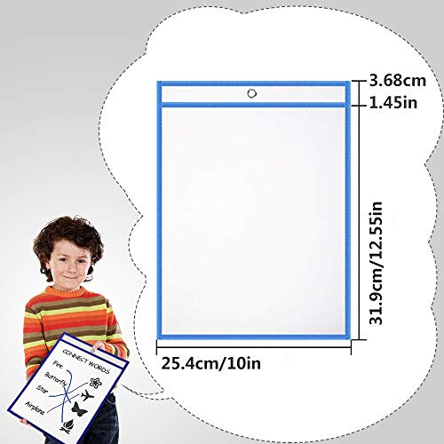 Dry Erase Pockets Oversize 10x14 Pockets Reusable Dry Erase Board Sleeves Assorted Colors Worksheet Sleeves Perfect for Classroom Organization Ideal for Office and School Work,24 Pack Photo #2