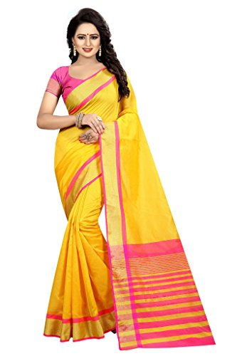 Shonaya Women`S Designer Cotton Silk Printed Saree with Unstitched Blouse Piece (Yellow) by Shonaya