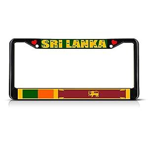 Elvira Jasper Sri Lanka Country Flag METAL Black License Plate Frame Tag Holder