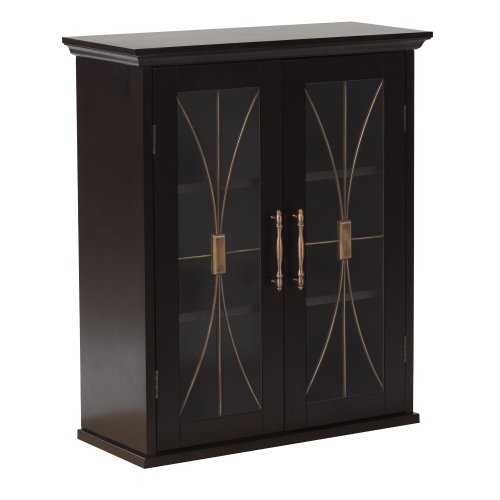 Elegant Home Fashions Delaney Wall Cabinet with 2 Doors, Dar
