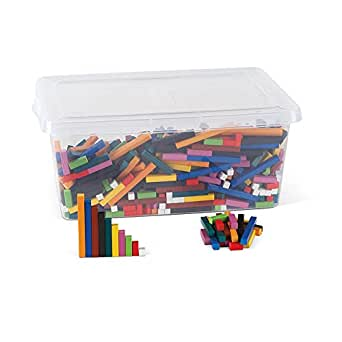 hand2mind Plastic Cuisenaire Rods Classroom Kit With Storage, Spark Kids' Interest In Math With Hands-on Learning, (Grades K-8), Color & Rod Correspond To A Specific Length (15 sets of 74 Pieces)