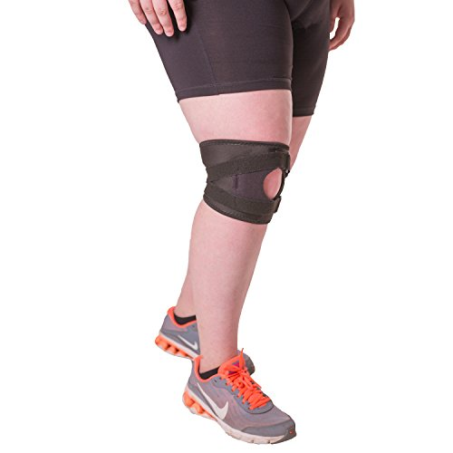 BraceAbility Plus Size Patellar Tracking Short Knee Brace | XXXL Walking & Exercise Support Sleeve Stabilizer for Post Kneecap Dislocation, Tendonitis, Patellofemoral Pain & Arthritis (3XL)