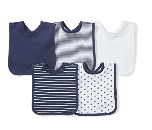 Moon and Back Baby Set of 5 Organic Reversible Bibs, Navy Sea, One Size