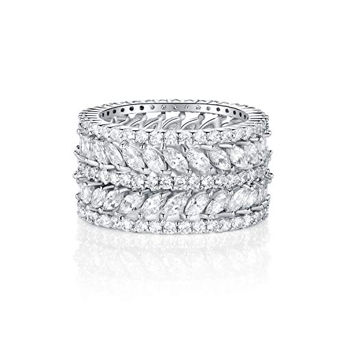 GEMSME 14K Gold Plated Marquise Cubic Zirconia Eternity Statment Ring for Womrn (7)