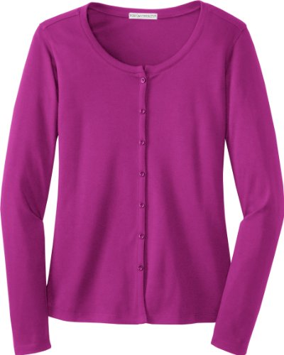 "Port Authority - Ladies ""Silk Touch"" Interlock Cardigan. L530"