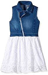 Limited Too Big Girls\' Stretch Sateen Moto Denim and Flowing Poly Lace Dress, White, 12