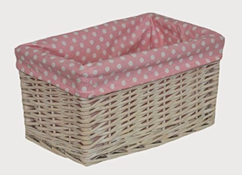 Small Pink Spotty Lined Storage Basket by Red Hamper