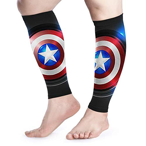 (HYHACZX Captain America Calf Compression Sleeve (sequential Compression, Unisex Ergonomics) (Ideal for Sports, Work, Flight, Pregnancy) Ect-Support Sore Muscles & Joints, 1 Pair)