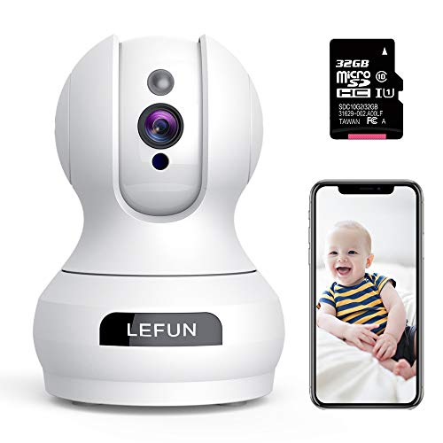 For Sale! WiFi Camera - Lefun Home Indoor Security Camera with 32G Micro SD Card Surveillance Pet Do...