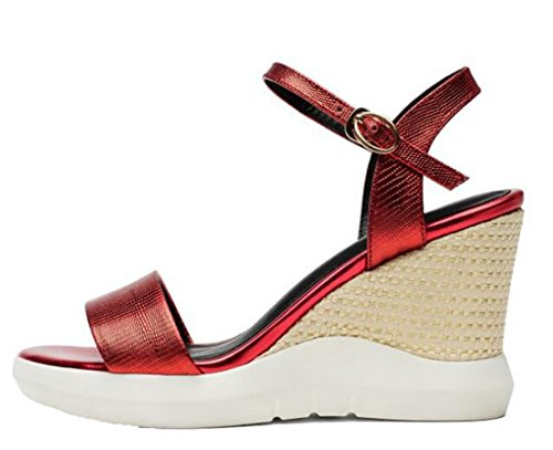 Laruise Women's Leather Wedge Sandal Red J0BgyH3y