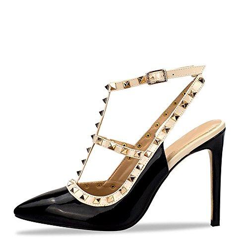 Kick Footwear - Womens Damen Low Heel Strappy Ankle Strap Manschette Abend Party Peep Toe Schuhe Black High Heel NF515