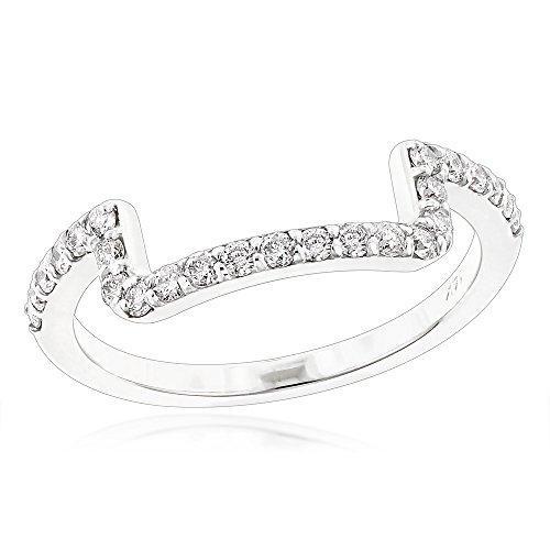 Luxurman 14K Engagement Ring Matching Diamond Wedding Band (White Gold Size 7.5)