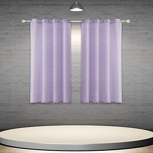 DONREN Lilac/Lavender Purple Sheer Curtain Panels - Short Ring Top Solid Semi-Voile Draperies for Small Window (2-Pack, 52 W x 45 L)