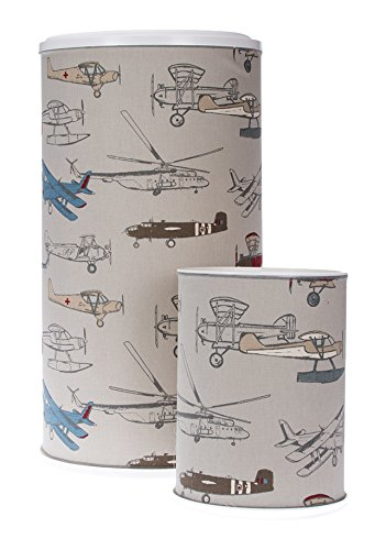 Glenna Jean Print Hamper and West Basket, Fly-by Airplane by Glenna Jean