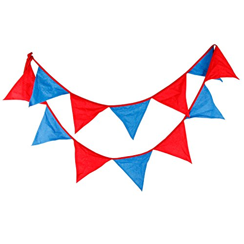 (INFEI Red & Blue Children Fabric Flags Bunting Banner Garlands for Wedding, Birthday Party, Outdoor & Home Decoration)
