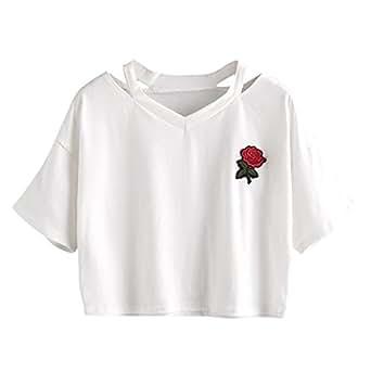 ❤️ Blusa Manga Larga para Mujer, Las Mujeres Rose impresión de Manga Corta Camiseta Casual con Cuello en V Chaleco Tops Blusa Absolute (M, Blanco)