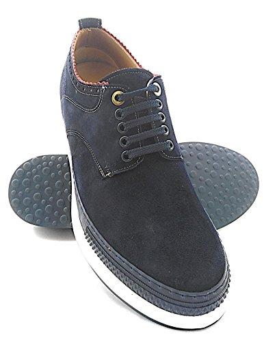 Zerimar Scarpe da Uomo con Aumentano Interni Aumenta + 7 cm Blu Navy Velluto cm Genuina Scarpe di Pelle 100% Naturale Blu marino