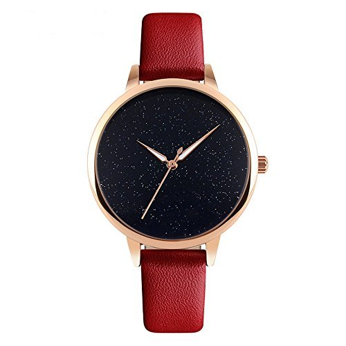 J.Market Quartz Watch Womens 50 Meters Waterproof Watch Creative Starlight Dial on Sale Birthday Gift with Genuine Leather Band