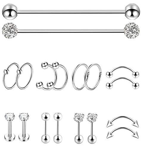 YOVORO 18Pcs Stainless Steel Industrial Barbell Cartilage Stud Earrings for Women Men Nose Septum Piercing Rings Tragus Ear Eyebrow Body Piercing Jewelry