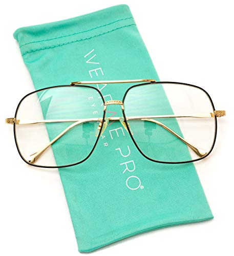 WearMe Pro - 70's Style Clear Glasses Gold Frame Aviator Style (Gold and Black Frame, ()