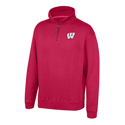 Top of the World NCAA Men's Wisconsin Badgers Team Color Classic Quarter Zip Pullover True Red X ()