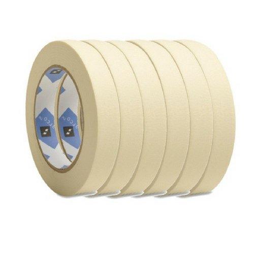 Economy Masking Tape, 3-Inch Core, 3/4-Inch X 60 Yards, Natural Kraft (6 Pack)