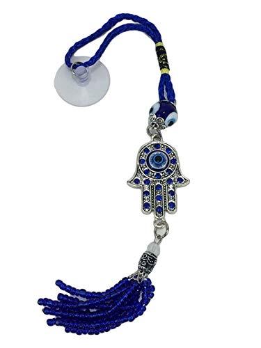 (Blue Evil Eye Hamsa Palm with Rhinestones Protection Charm Tassel Mirror Hanger)