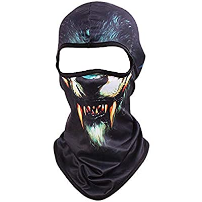 Kingree Balaclava Ski Mask, Motorcycle Helmets Liner Ski Gear Neck Gaiter, Animal Print Series Quick-Dry Mask (06 Wolf): Automotive