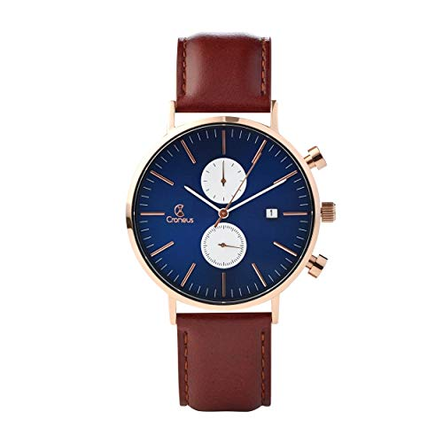 Chronograph Wrist Watch - Croneus Men's Luxury Fashion Watch | Stylish Professional and Casual Dress Chronograph Wrist Watch | 3ATM Waterproof Japanese Miyota Movement Wristwatch for Men | Stainless Steel Genuine Leather Band