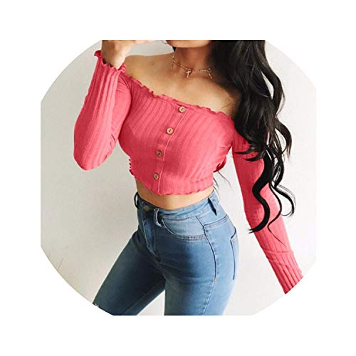 Womens Sexy Solid Strapless Off Shoulder Short Tops European Style Slim Blouse Casual Shirt,Watermelon Red,XL]()