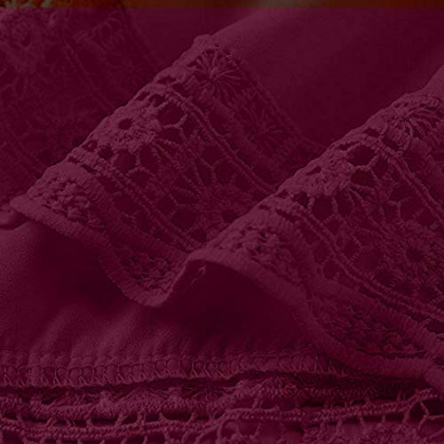 Femme Rond Col Chemisier Body Xmiral Manches Uni Bordeaux Longues Chemise dXq8ISwI