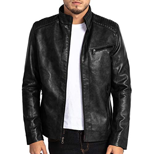 VICALLED Mens Leather Jacket Slim Fit Stand Collar PU Motorcycle Jacket Lightweight Black