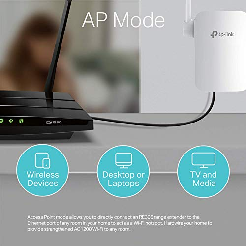 TP-Link AC1200 WiFi Range Extender - Dual Band WiFi Extender, Repeater, Internet Booster, WiFi Signal Booster, Access Point, Easy Set-Up, External Antennas, Wall Plug Design (RE305)