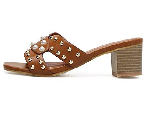 Femmes Mode À Chaussures Bout Sandales Perle Nouvelles À Talons Ouvert Rivets Chunky Brune De q0S0wr